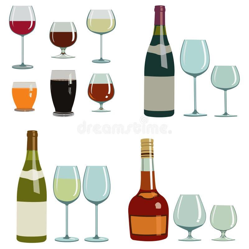 不同的酒精饮料和玻璃 皇族释放例证