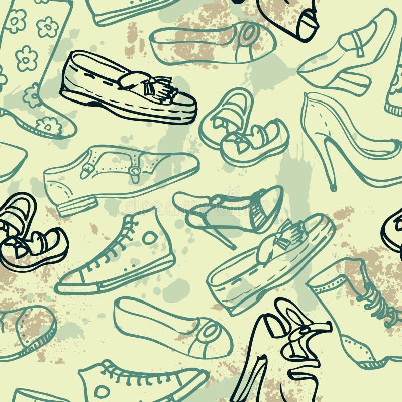 不同的鞋子无缝的样式,传染媒介例证 向量例证