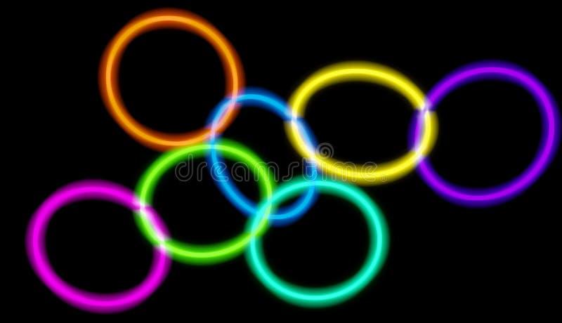 不同的颜色发光的霓虹圈子连接用彼此 3D回报了艺术 皇族释放例证