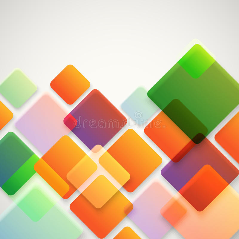 不同的颜色正方形抽象传染媒介背景  库存例证