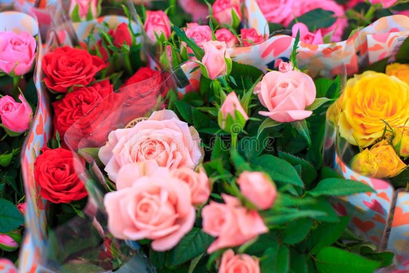 不同的颜色玫瑰花束  免版税图库摄影