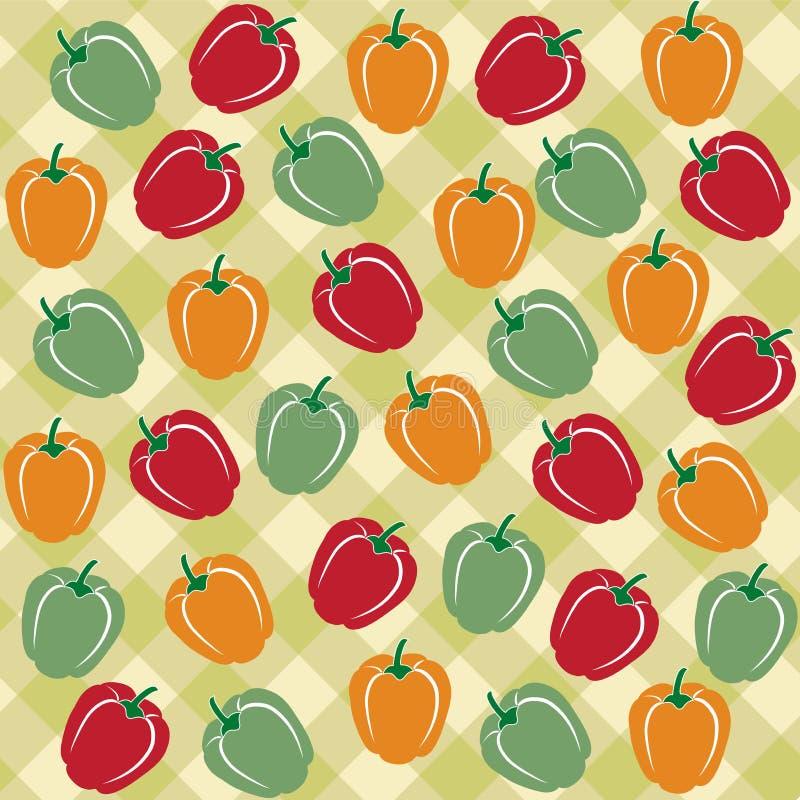 不同的颜色甜椒的无缝的样式  库存例证