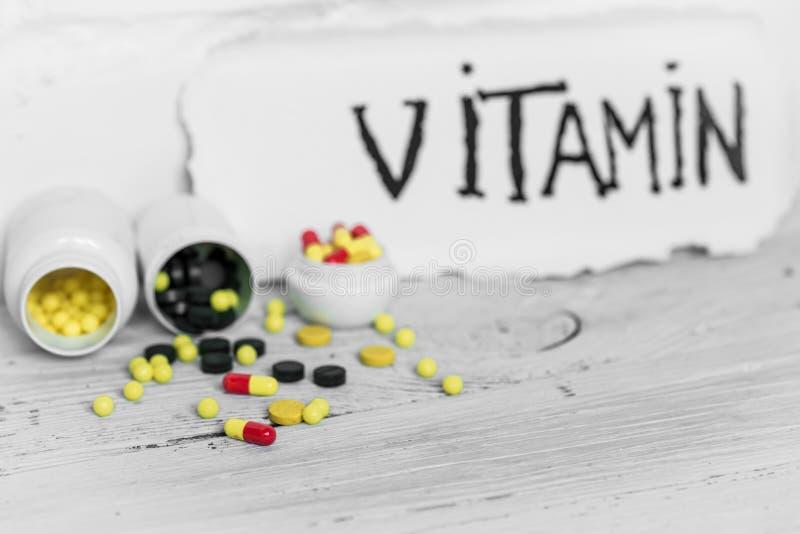 不同的颜色药片维生素 库存照片