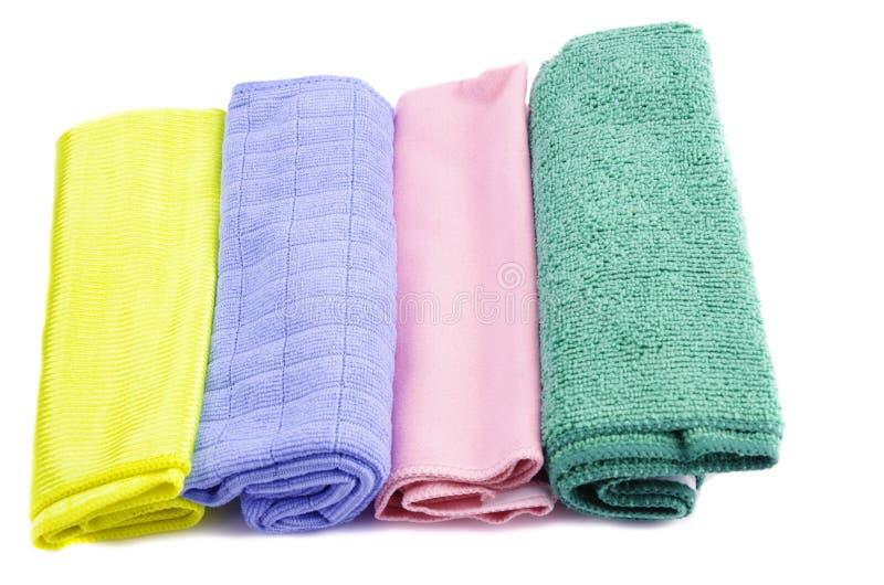 不同的颜色microfiber餐巾的选择在白色隔绝的 免版税库存图片