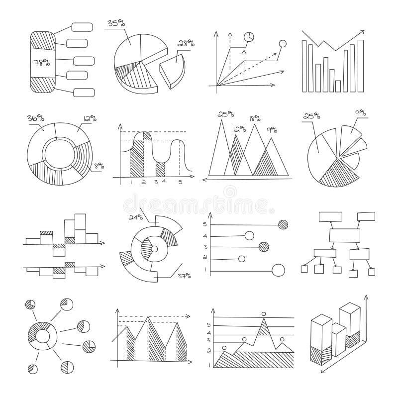 不同的类型在铅笔黑白照片样式的手拉的设计模板数据图表表示法图  皇族释放例证