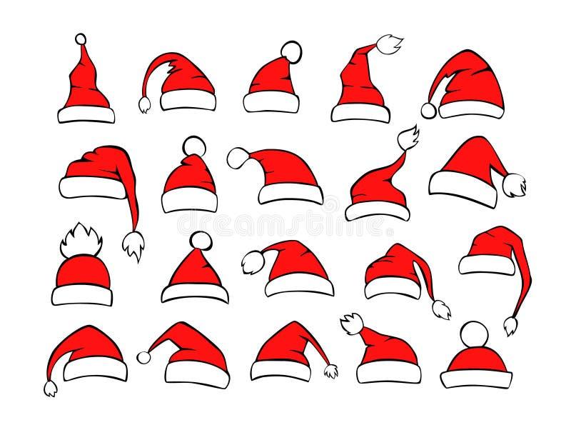 不同的shpes圣诞老人xmas圣诞节帽子的汇集在红色黑白色颜色的 库存例证