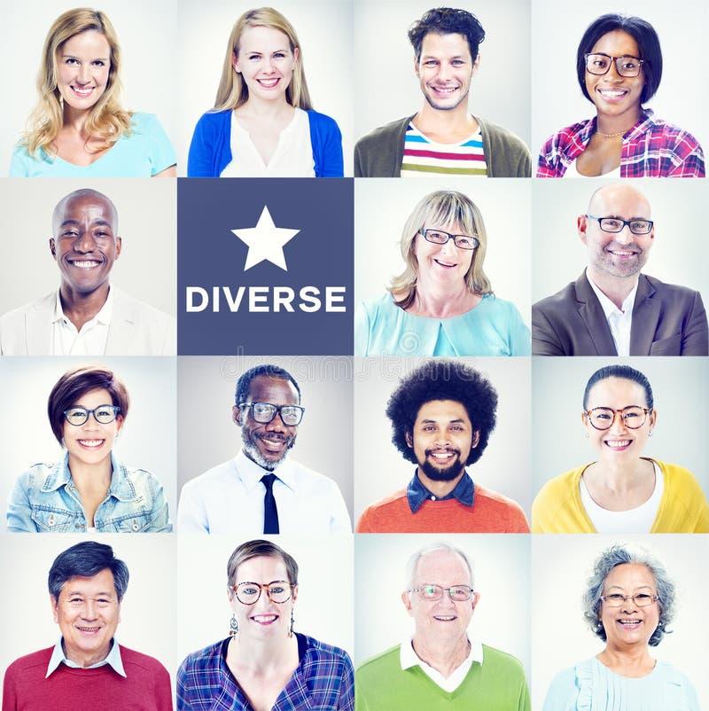 不同种族的不同的五颜六色的人民画象  免版税库存照片