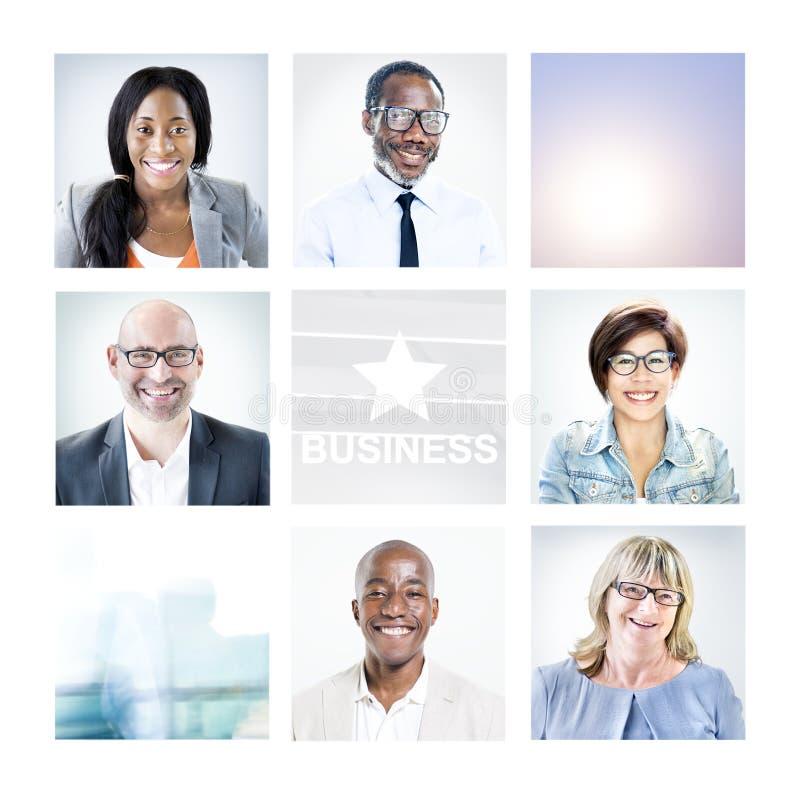 不同种族的不同的商人画象 免版税图库摄影