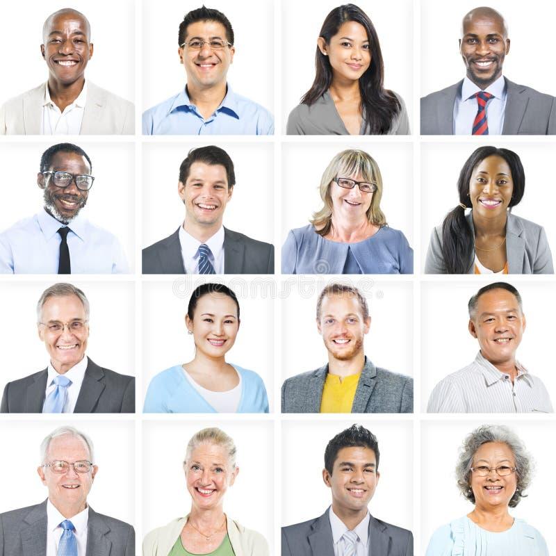 不同种族的不同的商人画象 库存图片