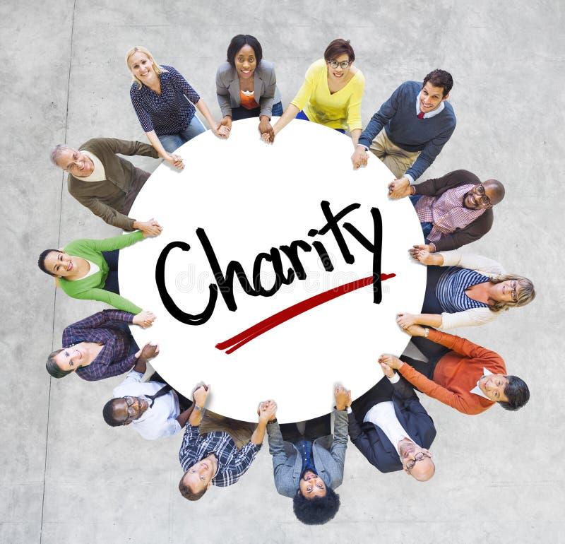 不同种族的人和慈善概念 库存照片