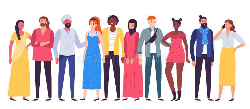 不同种族的人小组 工作者合作,一起站立不同的偶然成套装备平的传染媒介的人民和工友 向量例证