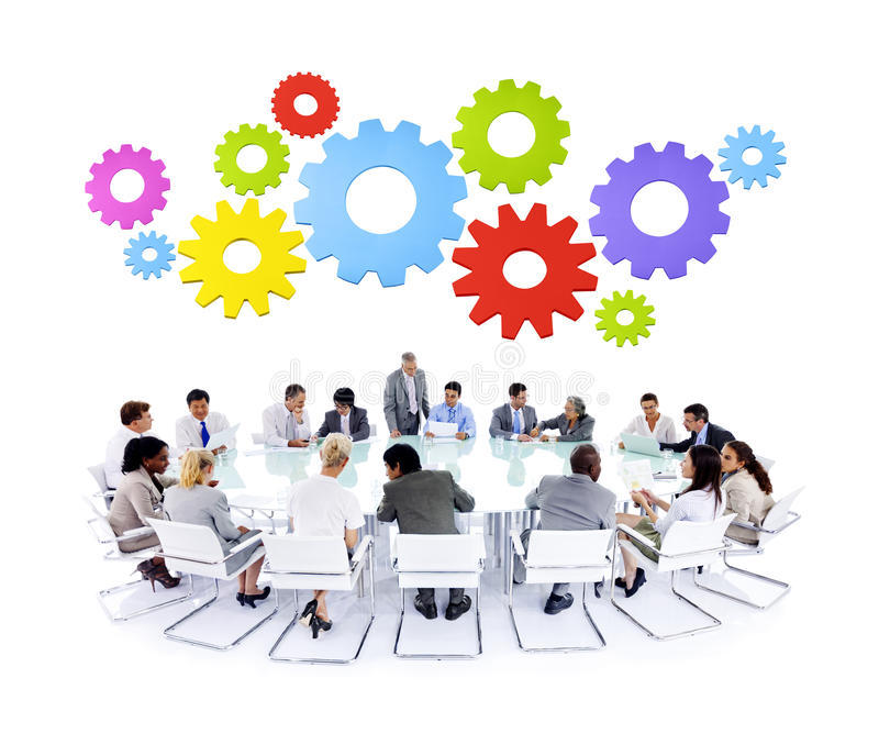 不同种族的企业合作讨论会议概念 免版税库存照片