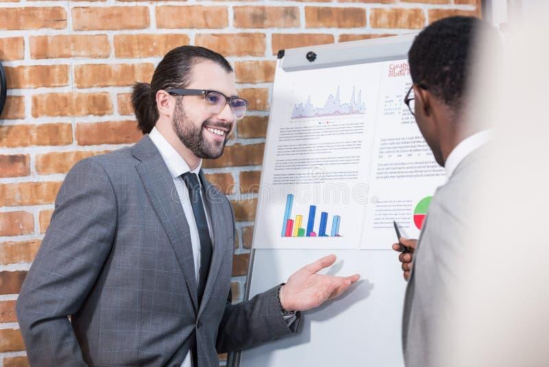 不同种族的商人微笑和谈话在活动挂图前面 免版税库存照片