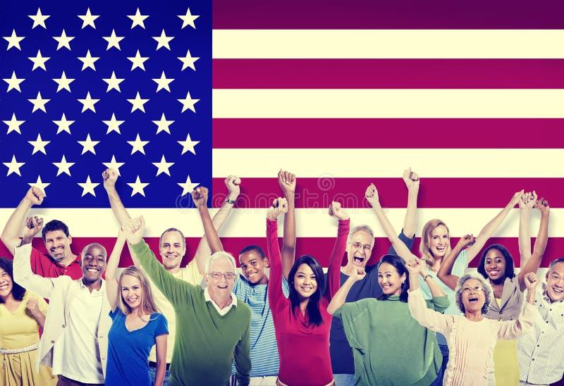 不同种族的小组人友谊队美国概念 免版税库存照片