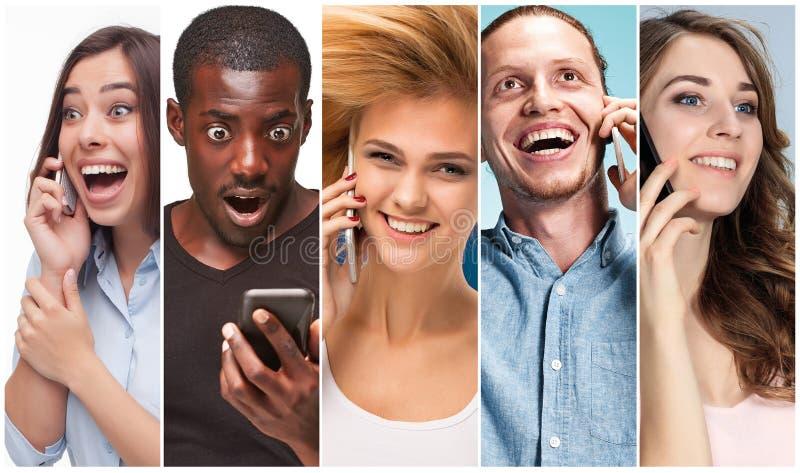 从不同种族的小组的图象的拼贴画使用他们的电话的愉快的年轻人和妇女 免版税库存图片