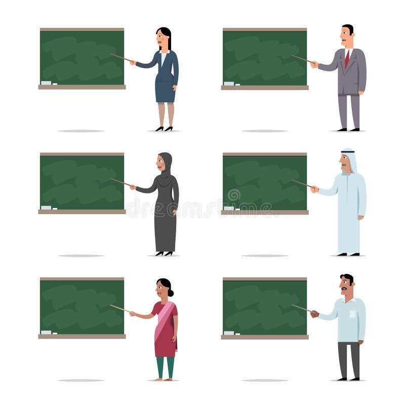 不同种族的老师的套用指向解释教训 库存例证