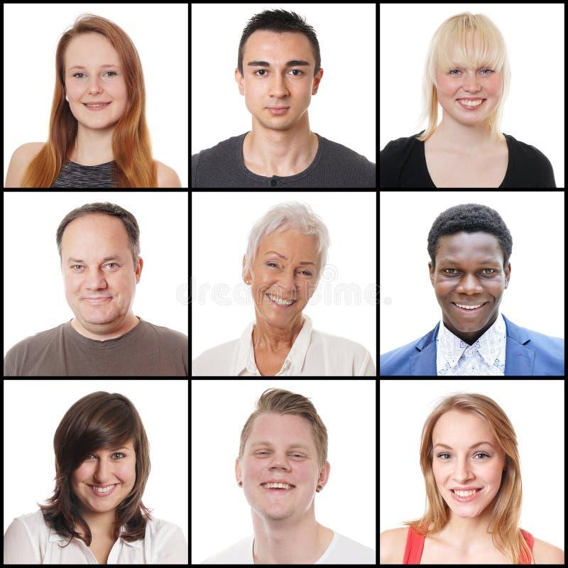 不同种族的范围从18的妇女和人到65年 免版税库存图片