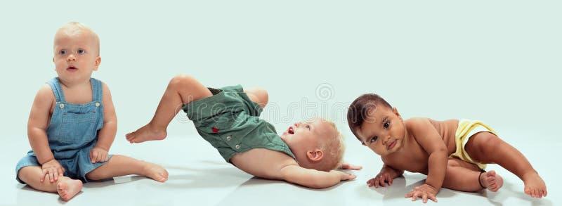 不同种族的婴孩 库存照片