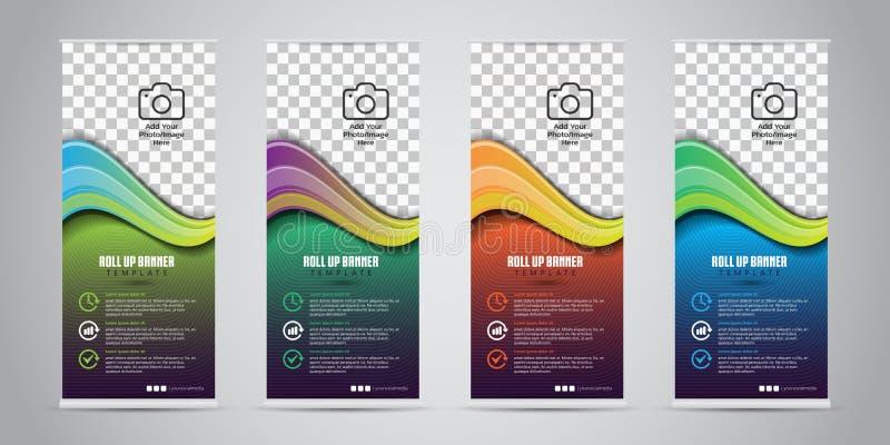 4不同颜色事务卷起 站着看的人设计 横幅模板 介绍和小册子 也corel凹道例证向量 皇族释放例证