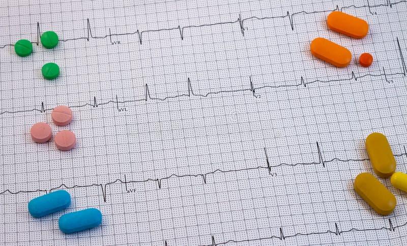 不同颜色和大小药片和医学在心电图 免版税图库摄影