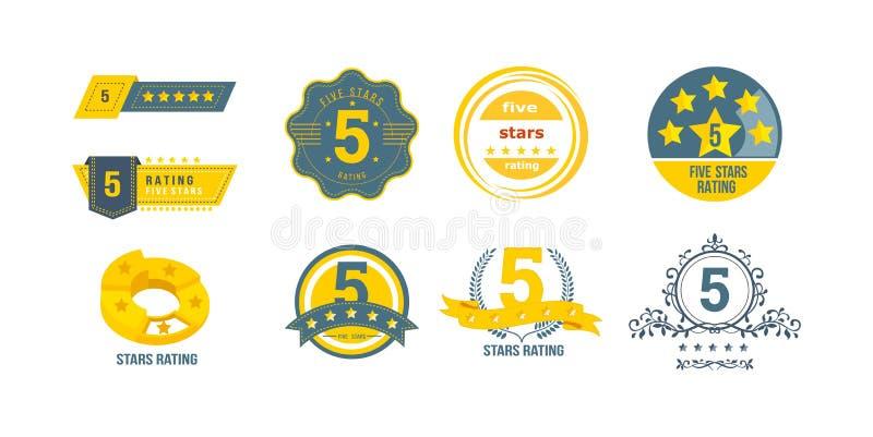 不同5个星对估计 反馈,回顾,通知的概念 库存例证