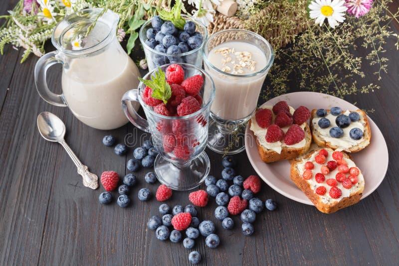 不含乳制品的素食主义者燕麦牛奶用莓果,健康饮食 库存图片