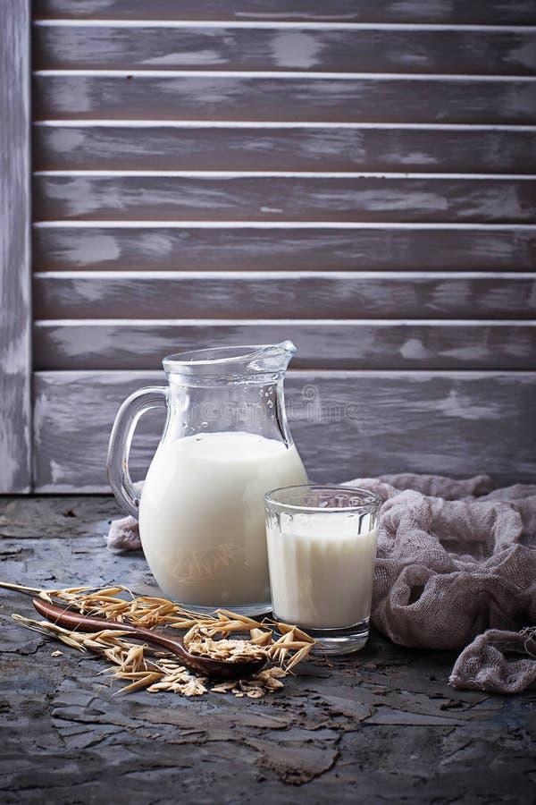 不含乳制品的素食主义者燕麦牛奶 免版税库存照片