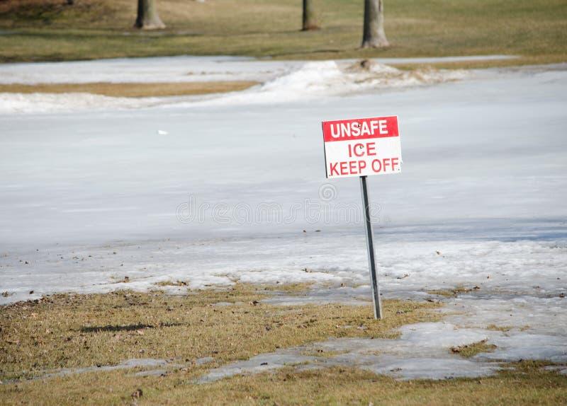 不安全的冰-让开标志 免版税库存照片
