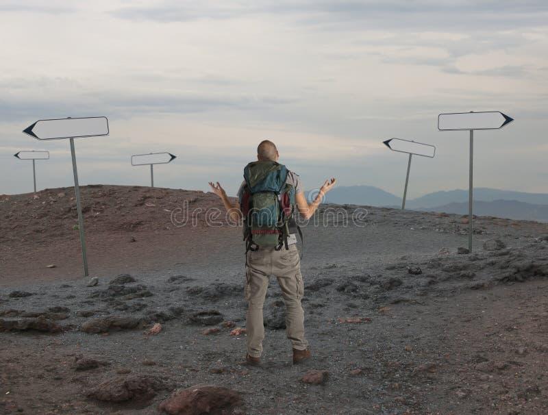 不定的探险家在沙漠失去 图库摄影