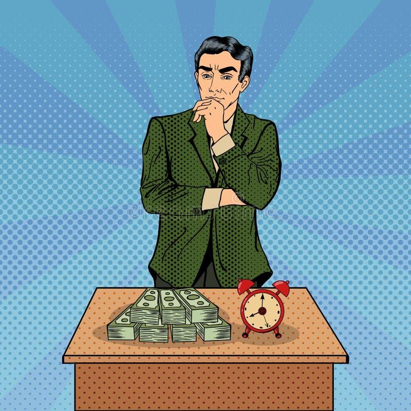 不定的生意人 money time 流行艺术 向量例证