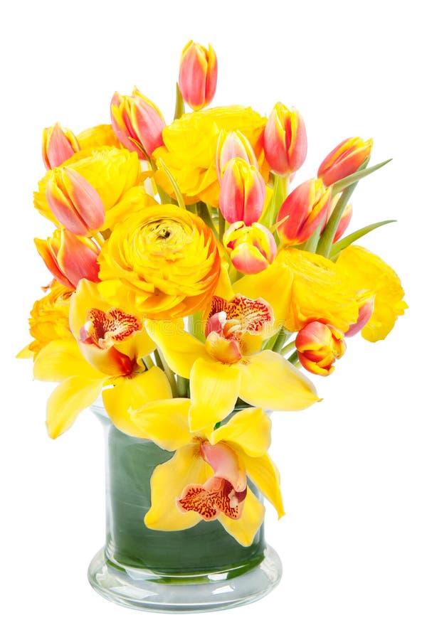 不对称的黄色花束 库存图片