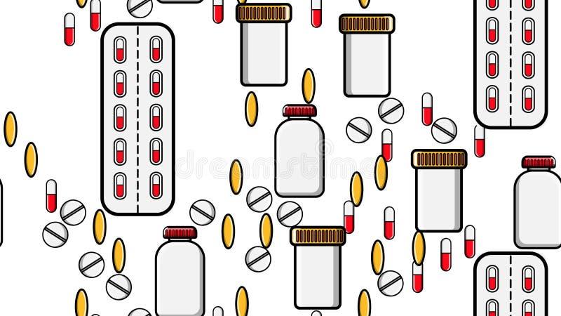 不尽的反复医学片剂药片糖衣杏仁无缝的样式纹理压缩纪录罐头与医学的组装 皇族释放例证