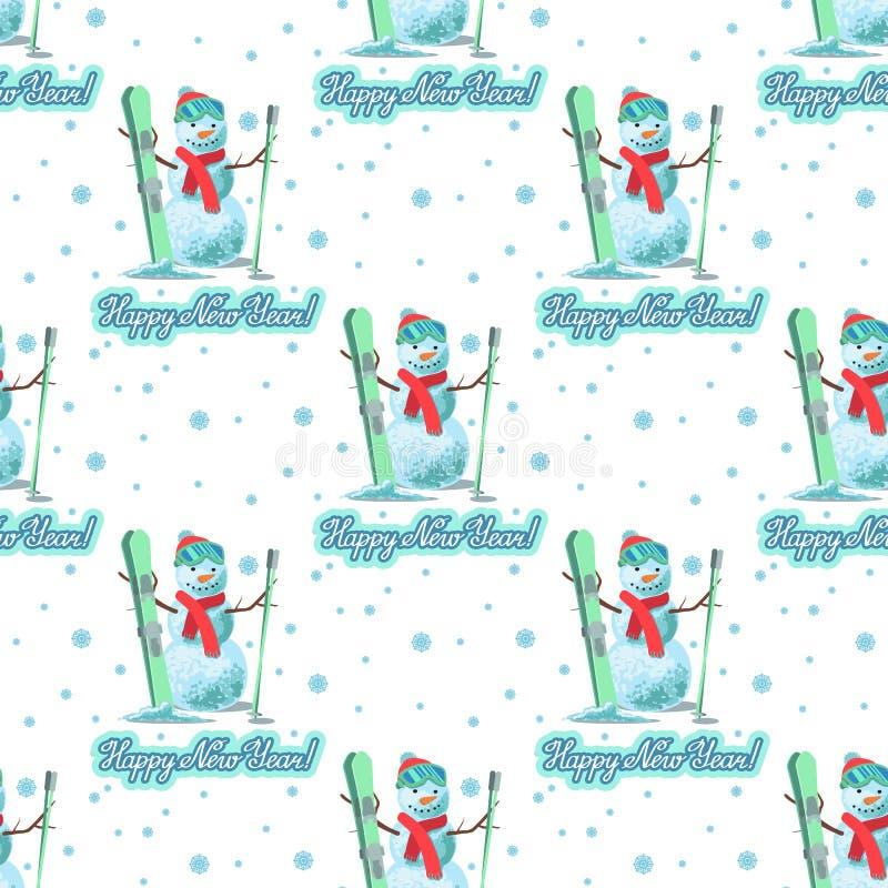 不尽的样式圣诞节题材 导航一个雪人的无缝的例证与滑雪的在白色背景字法ongratulation 库存例证