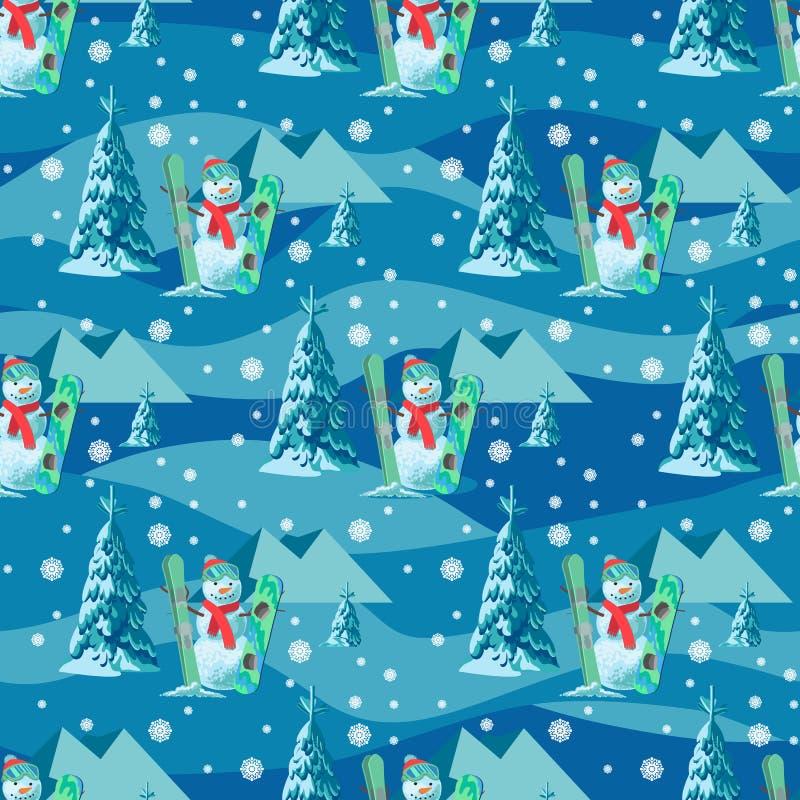 不尽的样式圣诞节题材 导航雪人的无缝的例证,与积雪的树的滑雪雪板 库存例证