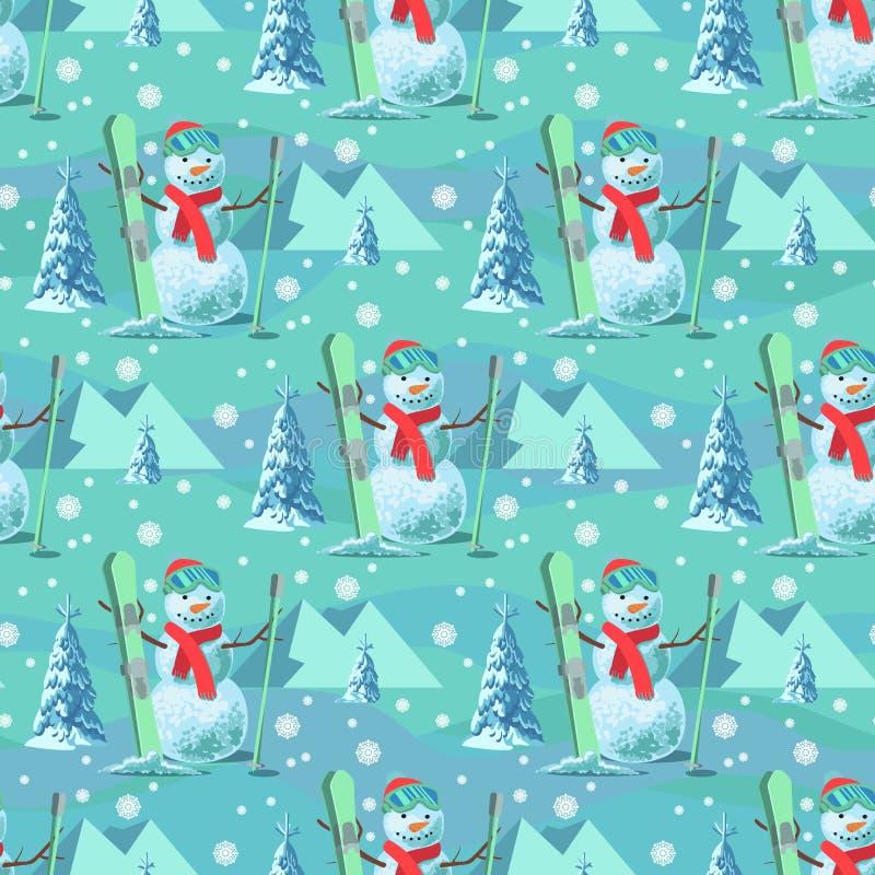不尽的样式圣诞节题材 导航雪人的无缝的例证,有积雪的树的滑雪成套装备 皇族释放例证