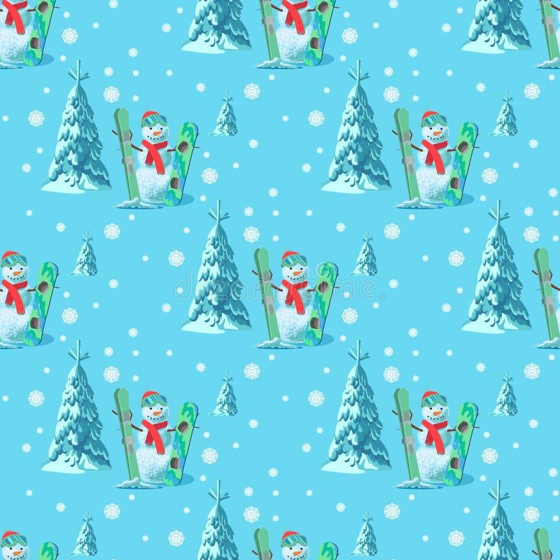 不尽的样式圣诞节题材 导航雪人的无缝的例证,滑雪有积雪的树的雪板成套装备 向量例证