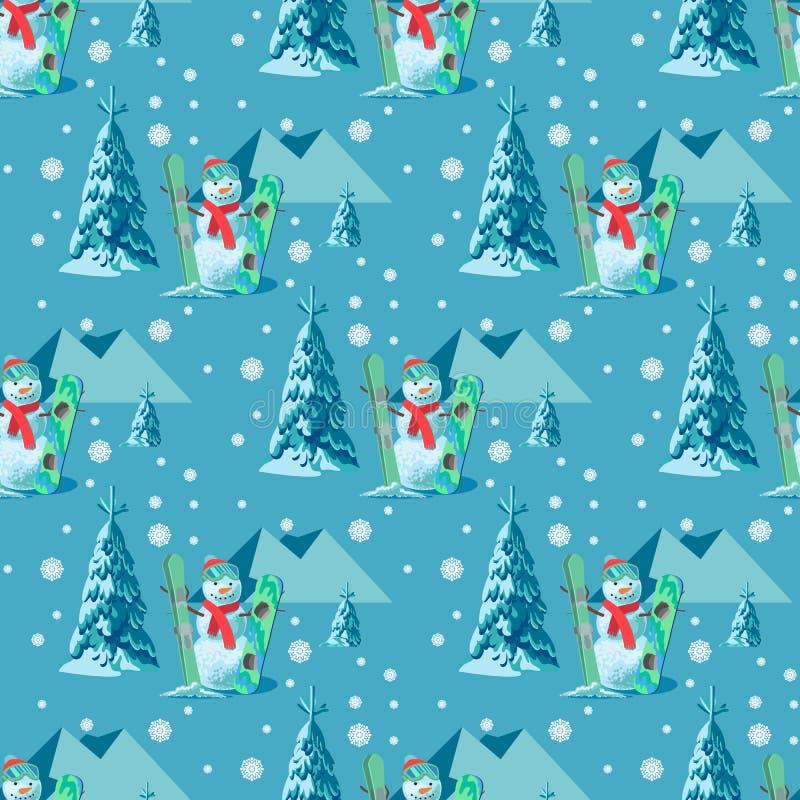 不尽的样式圣诞节题材 导航雪人的无缝的例证,滑雪有积雪的树的雪板成套装备 库存例证