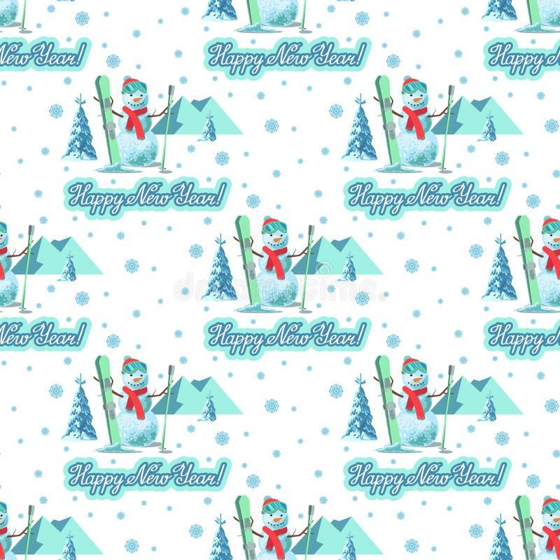 不尽的样式圣诞节题材 雪人的传染媒介无缝的例证 向量例证