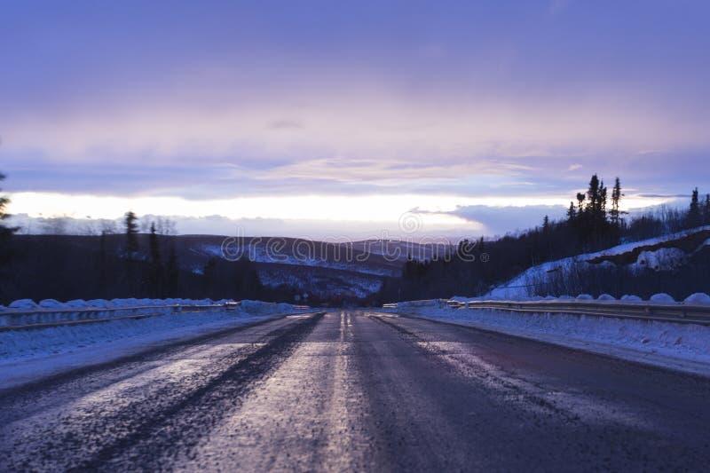 不尽的路在阿拉斯加 免版税图库摄影