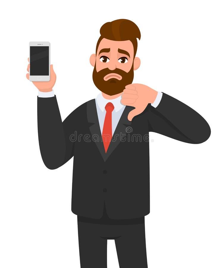 不快乐的商人藏品/陈列全新的智能手机,机动性,手机在手中和打手势在标志下的拇指 人力情感 皇族释放例证