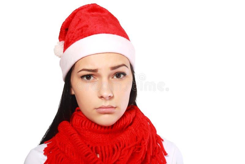 不快乐的圣诞老人 库存照片