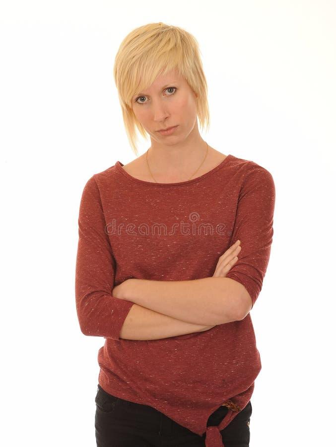 不快乐的妇女年轻人 库存照片