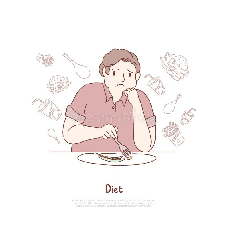 不快乐的肥胖食人的豆,作梦关于可口汉堡包和油炸物,减肥,健康营养横幅 皇族释放例证
