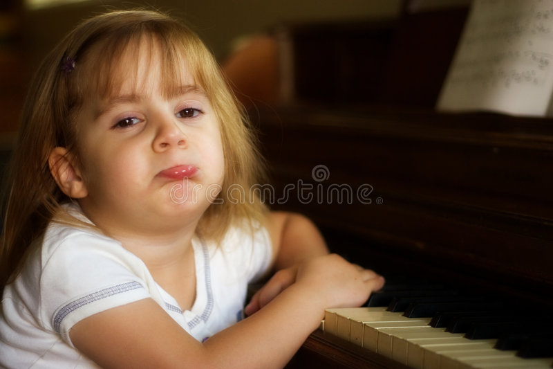 不快乐1个的钢琴演奏者 库存图片