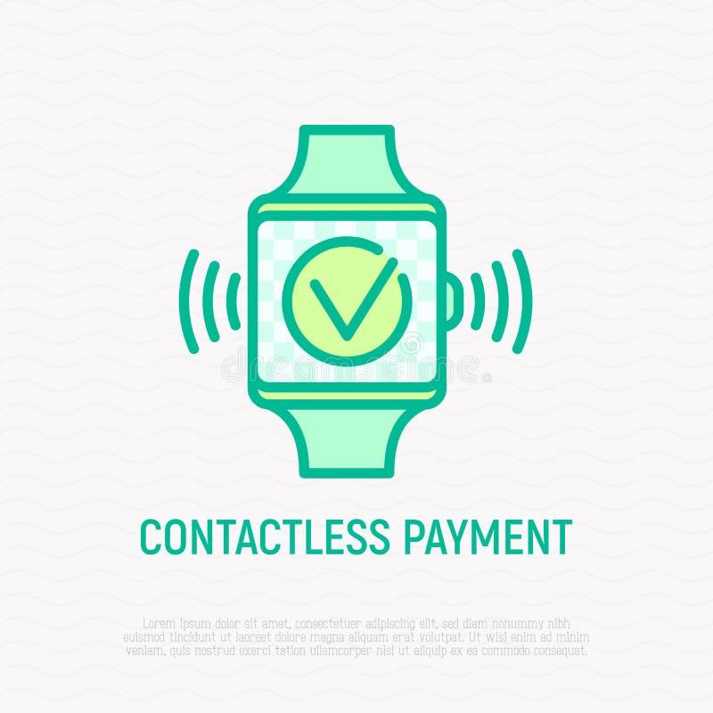 不接触的付款稀薄的线象:在巧妙的手表屏幕上的批准的操作 r 库存例证