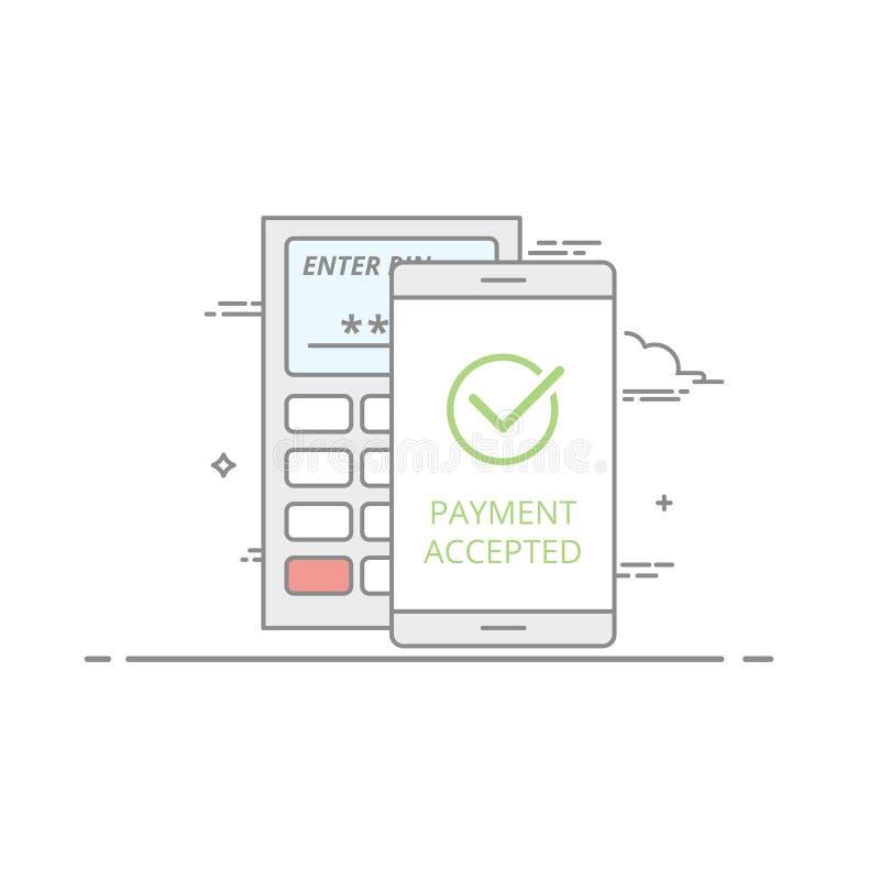 不接触的付款的概念使用一个移动设备的 成功的操作的屏幕象确认 皇族释放例证