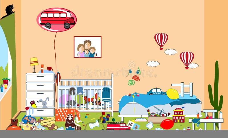 不整洁的孩子和杂乱室 孩子疏散玩具和衣物 两个小男孩居住的室 混乱图片