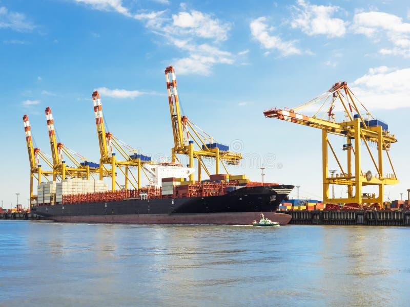 不来梅哈芬港的集装箱码头有集装箱船的 库存图片