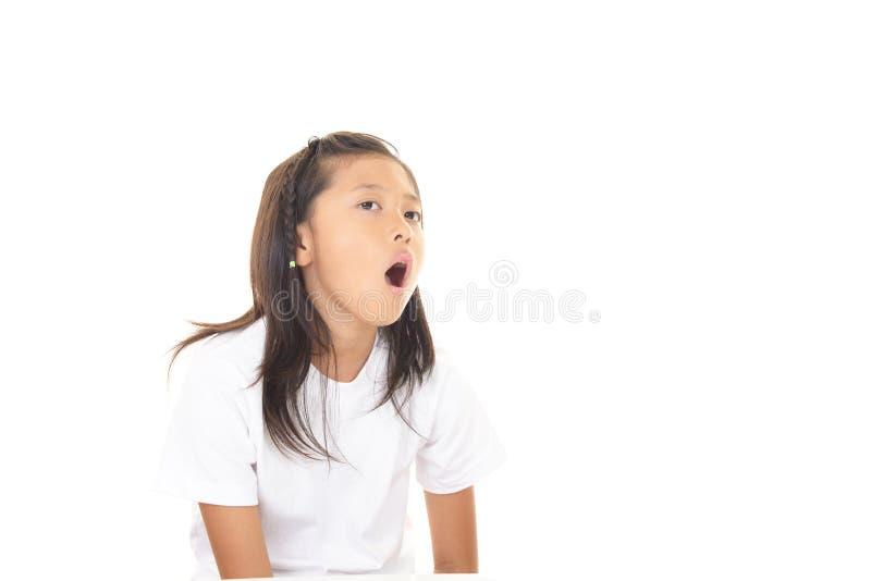 不满意的亚裔女孩 免版税图库摄影