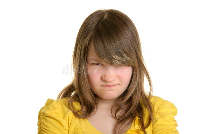 不满意的女孩被触犯 免版税库存图片